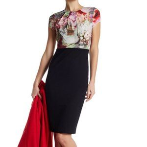 Ted Baker London Floral Silk & Black Midi Dress